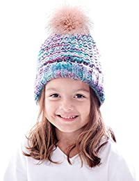 Toddler Winter Hat Cable Knit Pom Pom Beanie Hat for Kids