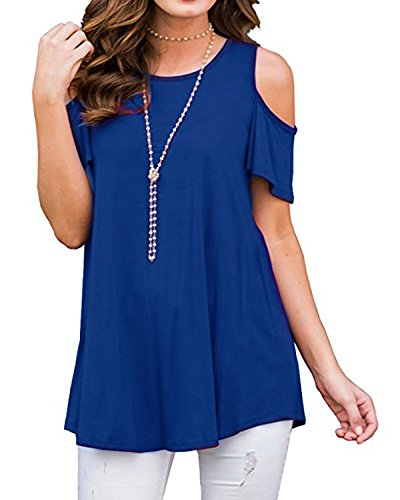 FOMANSH Women Short Sleeve Cold Shoulder Tunic Tops Casual Loose Blouse Shirts (L (US12-14), Royal (Blue Short Sleeve Shirt Top)