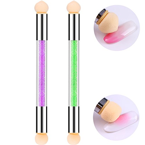 Nail Sponge Brush 2 PCS Dual Tipped Ombre Nail Art Brush Painting Pen Picking Dotting DIY Gradient Pen Crystal Acrylic Handle Shading Pen Nail Art Tools For UV Gel Nails Gradient Blooming