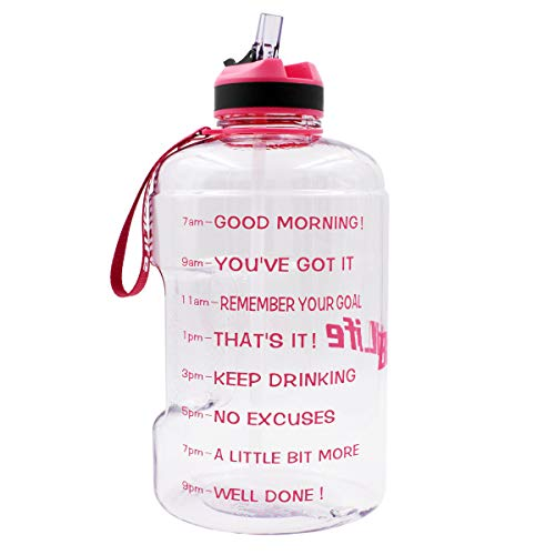 QuiFit Gallon Sport Water Bottle Wide Mouth with Straw Lid Easy Sipping 128/73/43 Ounce Motivational Time Marker Encourage You Drinking Enough Water Throughout The Day (128 Ounce Clear-Pink)