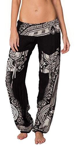 INGEAR Smocked Harem Pants Hippie Bohemian Casual Gypsy Print Yoga Baggy Boho (Large, Black) ()