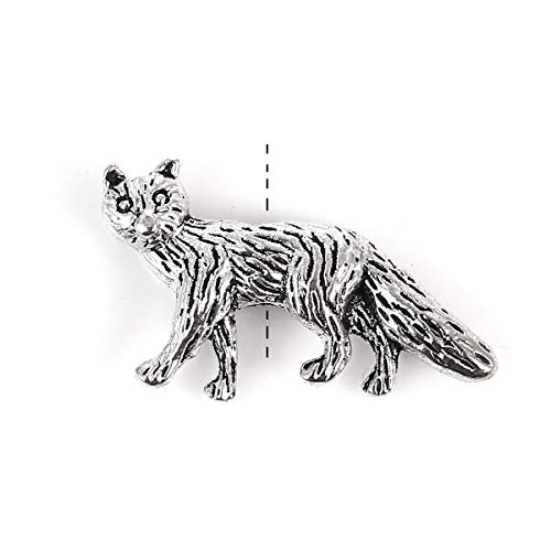 """PEPPERLONELY 50pc Antiqued Silver Alloy 3D Fox Animal Charms Pendants 23x14mm (7/8"""" x1/2"""")"""