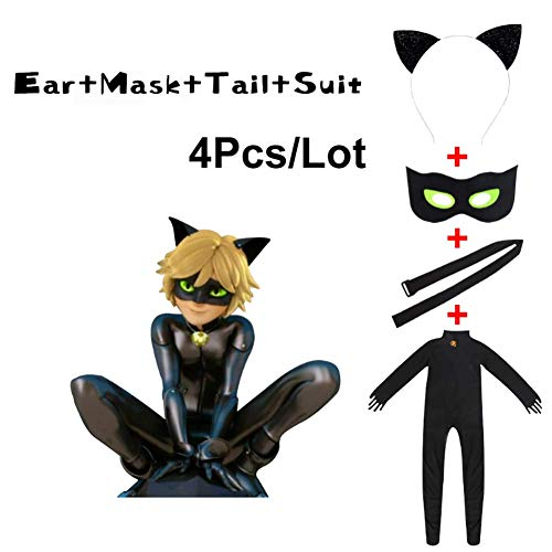 Shorafu Kid's Cat Cosplay Jumpsuit Boy's Girls Costume Black Cat Noir Cosplay Costume Halloween Party Masquerade (Without Wig,XS(33-37inch)) -
