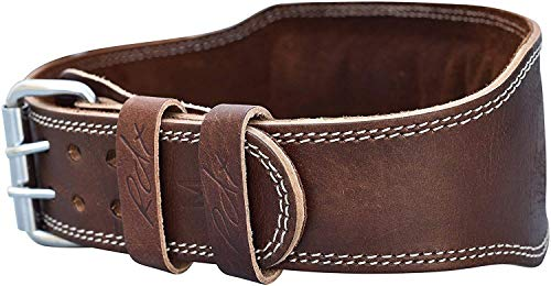 RDX Weight Lifting Belt Cow Hide Leather Gym 4'' Training Back Support Fitness Exercise Bodybuilding, 2XL 40''-45'' (Waist Size not Pant Size), Brown by RDX (Image #2)