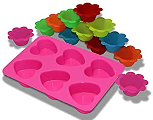 6 Cavities Heart Silicone Cake Mold with 12-pack Reusable Silicone Baking Cups / Cupcake Liners.
