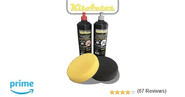 Pulimento para carrocerias 1kg de corte + un kg de brillo + esponjas de pulir 150mm.