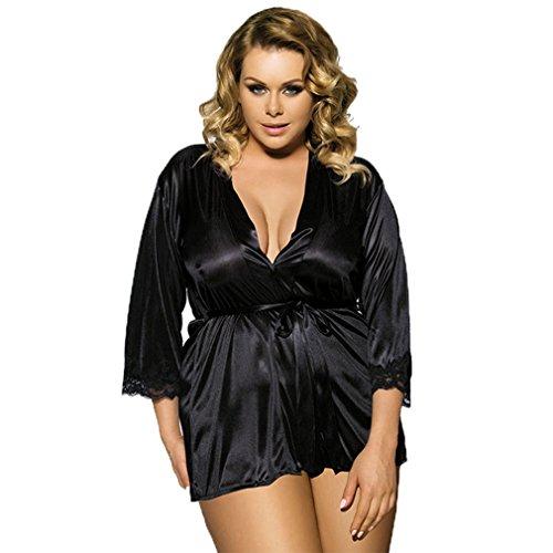 Raso Pigiama Donna Sexy Per Collo Mini Pizzo Lingerie Kimono V Vestito Nero Intimo Vestaglie LvRao pSavndqHd