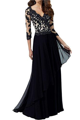 Kleid lang schwarz langarm