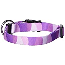 Dogit Style Wild Stripes Large Adjustable Nylon Collar with Plastic Snap and ID Plate, 3/4-Inch by 16-Inch to 22-Inch, Purple