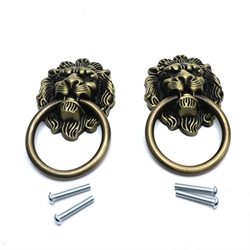 (Sydien 91x51mm Lion Head Ring Pulls/Handles for Dresser, Drawer, Cabinet, Door,Cupboard, Closet 2 Pcs (Antique Bronze))