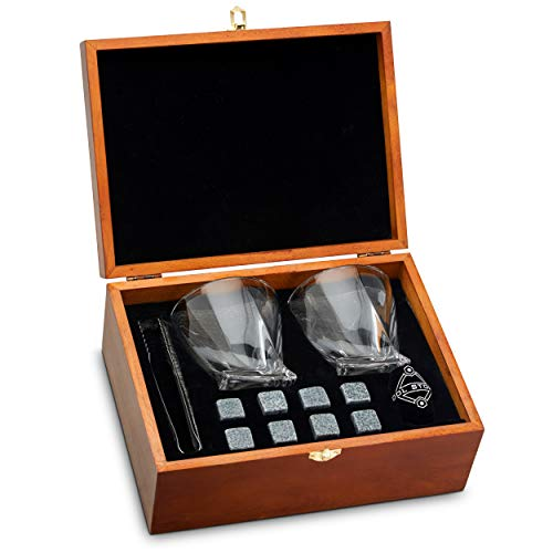 Whiskey Stones and Whiskey Glass Gift Boxed Set – 8 Granite Chilling Whisky Rocks 2 Glasses in Wooden Box – Great Gift for Father s Day, Dad s Birthday or Anytime For Dad
