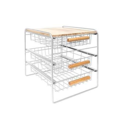 Origami Wood Top Steel Kitchen Organizer 3 Mesh Basket Sliding Drawer, White (Drawers Basket White)