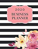2020 Business Planner: Monthly Planner and Organizer 2020 with sales, expenses, budget, goals and more. Ideal for entrepreneurs, moms, women. 8.5 x 11in 120 pages black stripes with watercolor flowers