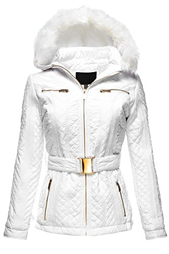 Luna Flower Women's Detachable Fux Fur and Hoodie Quilted Padding Jackets White Large (LFWJA0012)