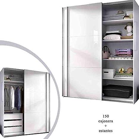 HABITMOBEL Armario Dormitorio ropero, Estantes + Cajonera Blanco Brillo, Medidas: 150 Ancho x 204 x 65 cm Fondo: Amazon.es: Hogar