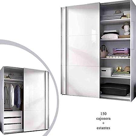 HABITMOBEL Armario Oficina con Estantes + Cajonera Blanco Brillo, Medidas: 150 Ancho Altura Especial 204cm: Amazon.es: Hogar