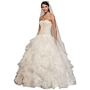 Oleg Cassini Strapless Ruffled Skirt Wedding Dress Style CWG568