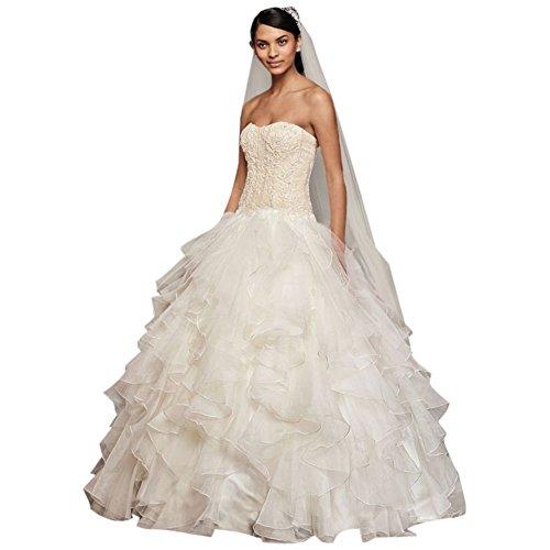 David's Bridal Oleg Cassini Strapless Ruffled Skirt Wedding Dress Style CWG568, Ivory, (Oleg Cassini Bridal Dresses)