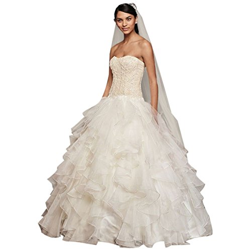 David's Bridal Oleg Cassini Strapless Ruffled Skirt Wedding Dress Style CWG568, Ivory, (Oleg Cassini Davids Bridal)