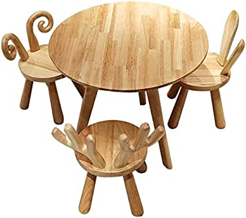 CTC Niños/Juego de mesa y silla para niños, Hogar/Aprendizaje de madera maciza para jardín de infantes/Mesas y sillas de juego, Jardín interior y exterior / 1 mesa 3 sillas: Amazon.es: Bricolaje y