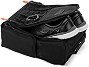 Fitdom Golf Shoe Bag - Tactical Style Zippered Black Shoe Carrier Bags with Ventilation & Multiple Outside