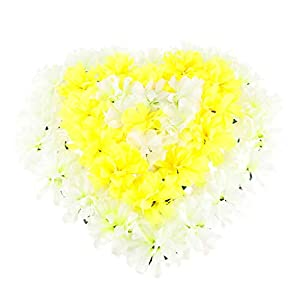 SM SunniMix Artificial Heart Wreath Chrysanthemum Cemetery Flowers Tombstone Saddle Outdoor Grave Decor - Yellow 56
