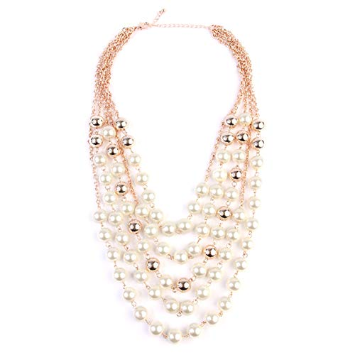 RIAH FASHION Acrylic Faux Pearl Statement Necklace - Bridal Wedding Drape Long Wrap Multi Layer Simple Necklace Braided, Twisted, Bib, Hammock, Layering (5 Layer ()