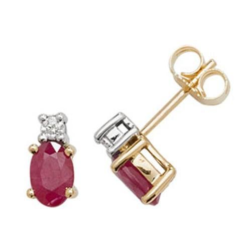 Diamant et Rubis ovale boucles d'oreilles clous or jaune 9carats OV/6x 4
