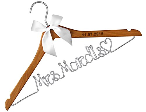 VVFOR Wood Wedding Hangers-Lser engraved Custom Personalized Bridal Dress Hanger Gifts for Bride Mother of the Bride's Gifts gifts for groom -