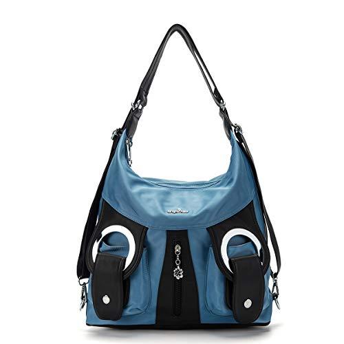 (Angelkiss Womens Nylon Hobo Purses and Handbags Oversize Backpack Purse Crossbody Shoulder Bags for Women Multifunctional Bag)