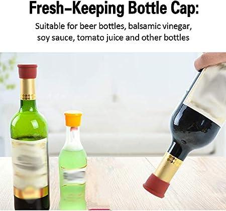 GZhaimai - 20 tapones de silicona reutilizables para botellas de vino, champán, cerveza, bebidas carbonatadas, con 1 sacacorchos, 5 colores
