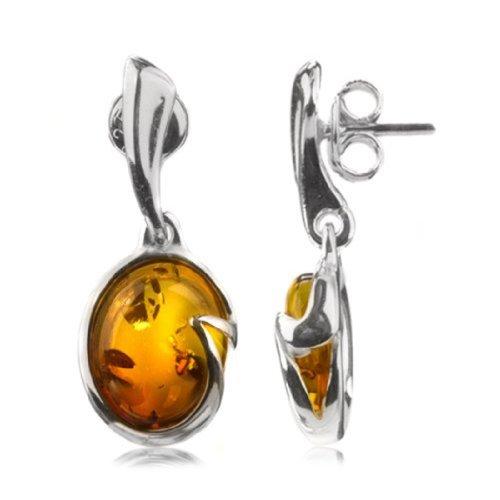 Sterling Silver Amber Oval Dangle Earrings