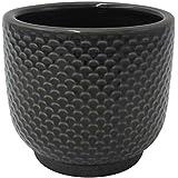 "Amazon Brand – Stone & Beam Textured Stoneware Planter, 5.1""H, Black"