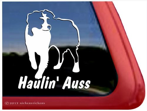 (Haulin' Auss ~ Australian Shepherd High Quality Aussie Window Decal Sticker)