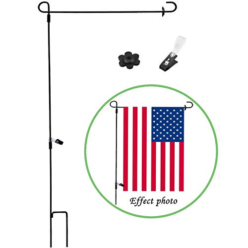 (Garden Flag Stand Holder Pole with Flags Rubber Stopper and Anti-Wind Clip Perfect Home Use Mini Outdoor Flagpole fits Season Garden Banners Free Iron Material Powder Coated Weather-Proof Paint)