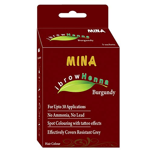 Mina Eyebrow Henna Burgundy Regular Pack & Tinting Kit For Brow Dye ()