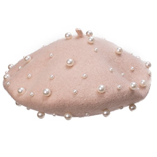 Lawliet Sweet French Womens Pearl Beaded 100% Wool Beret Cap Winter Hat Y91 (Beige)