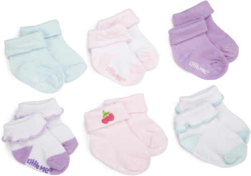 Little Me Baby-Girls Newborn Cuffed Socks With Ruffles And Prints