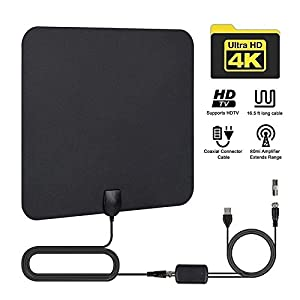 Indoor TV Antenna HDTV Receiving Antenna,Digital Antenna Kit for 1080p HD Mode 4K Free TV Channels With Amplifier Signal Booster Strongest Reception 50 Miles Long Range