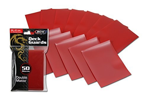 BCW 1-DGM-RED 100 Premium Red Double Matte Deck Guard Sleeve Protectors for Gaming Cards Like Magic The Gathering MTG, Pokemon, Yu-Gi-Oh!, & More