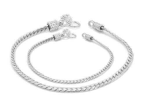 D&D Crafts Sterling Silver Interlink Anklets For Girls, Women by D&D
