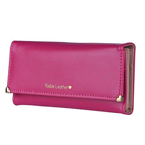 chaud cuir Card en cadeau rose Sacs Wallet embrayage longue noir bourse Credit Holder Lady femmes Tonsee qYzfZn