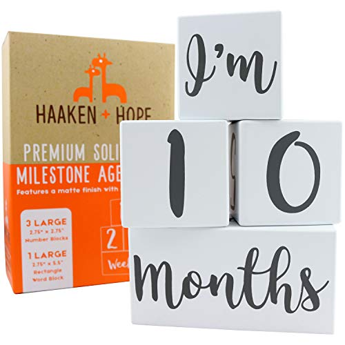 Haaken + Hope Baby Monthly Milestone Blocks | Photo Props for Growth Timeline | Weeks Months Years & Grades | Perfect Unlimited Number Combos | 4 Large Gender Neutral Baby Age Blocks 2.75