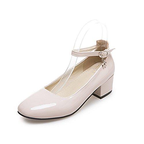 4a8a7445b397f Balamasa Dames Boucle Talon Carré Talons Chunky Chaussures En Cuir Verni Chaussures  Abricot