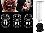 5 Pieces Vampire Fangs Funny Horror Fake Teeth Vampire Teeth Fangs Dentures with 1 Tube Dental Adhesive For Halloween Zombie Cosplay Halloween Costume Props Party Favors, 1pc Storage Bag For Free