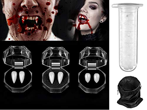 HALLOWEEN VAMPIRE FANGS CAPS TEETH UNISEX FANCY DRESS FAKE BLOOD PUTTY ADHESIVE