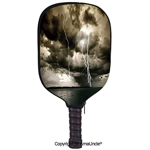 SCOXIXI Customized Racket Cover, Stylish Majestic Rain Cloud with A Thunderstorm All Over The Ocean Flash Sea Dramatic SceneryRacket Cover,Protect Your Pickleball Paddles