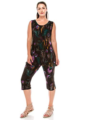 Jostar Women's Stretchy Tank Capri Set Sleeveless Plus Print 3XL Purple Feather