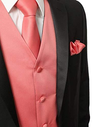 Da Smoking Abbigliamento Uomo E Collo Knoepproof V L Suit Slim Tie Size Rosa con color Loop Hanky Vest Fit Gilet Elegante 5 dx6AW6Bq