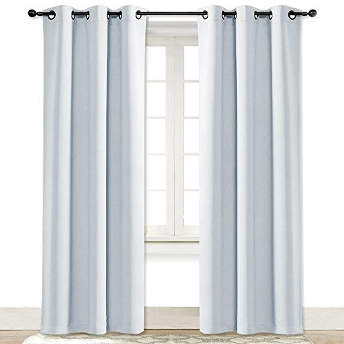 NICETOWN Cloud Grey Window Curtain and Drape Easy Care Solid Thermal Insulated Grommet Room Darkening Drapery for Kids' Room (1 Panel, 42 by 84) ()